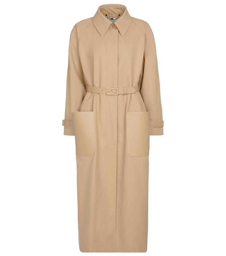 Fendi Leather-trimmed trench coat in beige