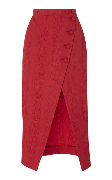ALEXACHUNG Wrapped Midi Skirt in red
