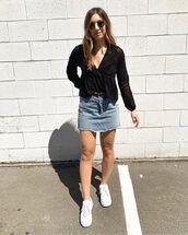 top,black top,long sleeves,denim skirt,white sneakers