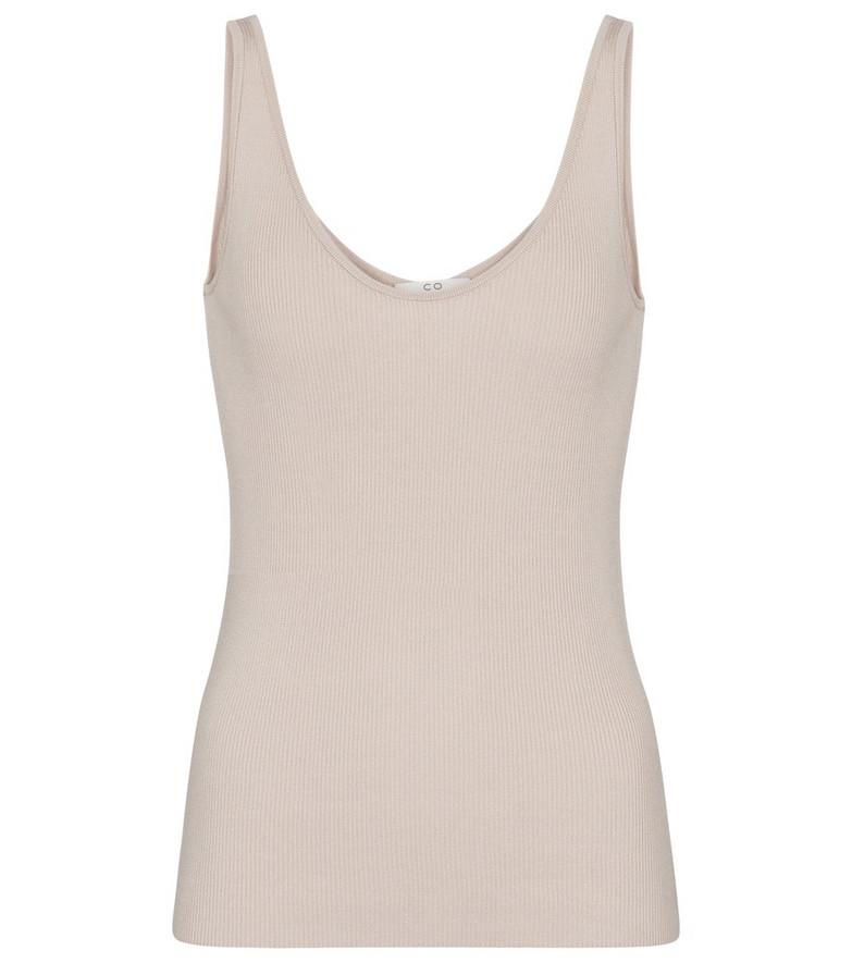 Co Ribbed-knit silk tank top in beige