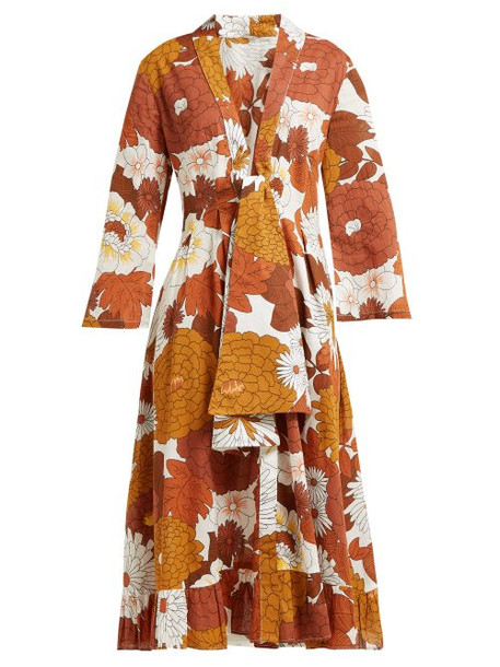 Dodo Bar Or - Charlotte Floral Print Cotton Midi Dress - Womens - Brown Print