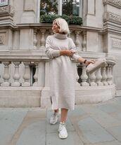 dress,turtleneck sweater,midi dress,sneakers,bag