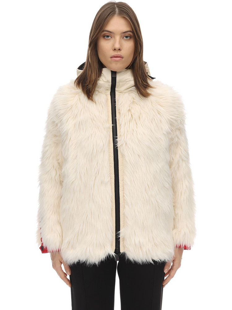 MONCLER GRENOBLE Bigfoot Faux Fur Nylon Laque Down Jacket in white