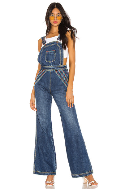 Free People Chasing Rainbows Overall in blue