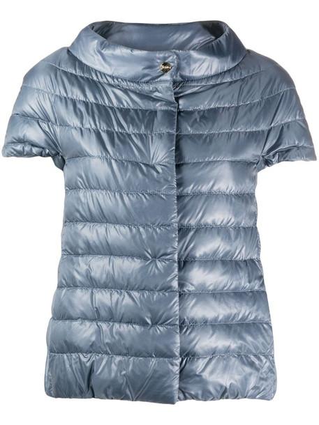 Herno short-sleeved puffer jacket in blue