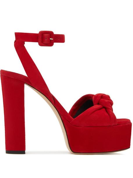 Giuseppe Zanotti suede high platform sandals in red