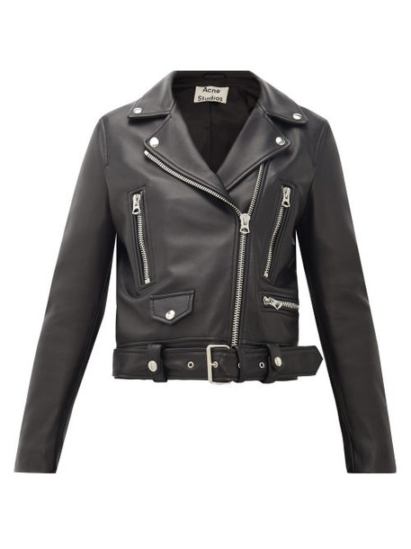 Acne Studios - Mock Smooth-leather Biker Jacket - Womens - Black