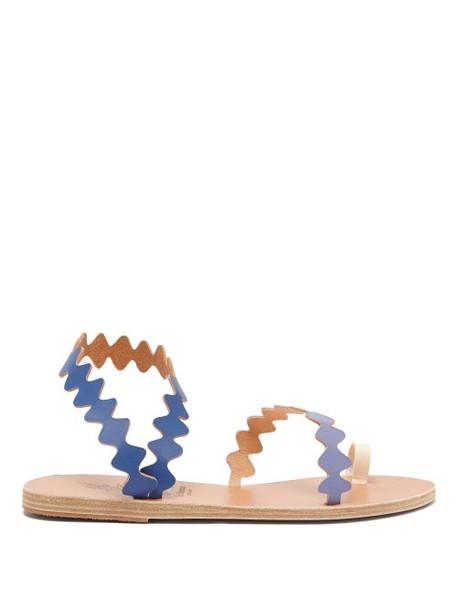 Ancient Greek Sandals - Eleftheria Top-loop Leather Sandals - Womens - Blue Multi