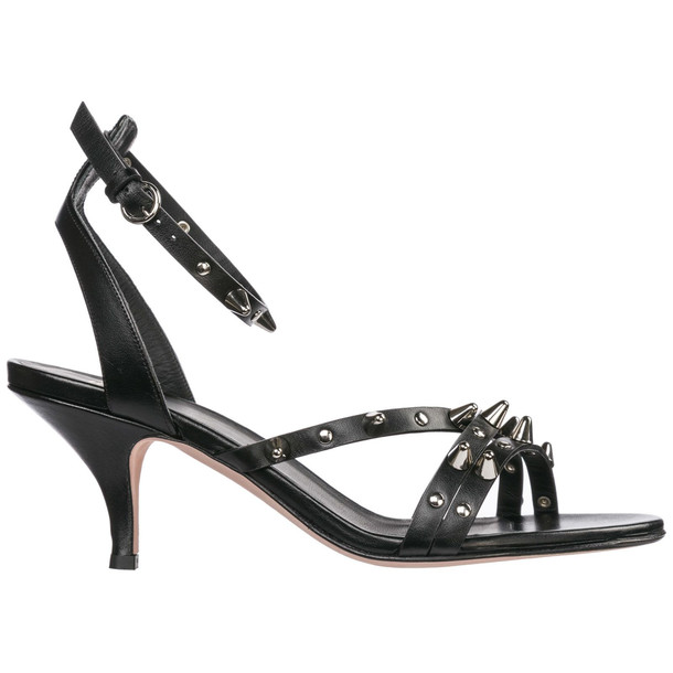 RED Valentino Leather Heel Sandals in nero