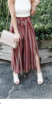 pants,amazon burgundy striped pants