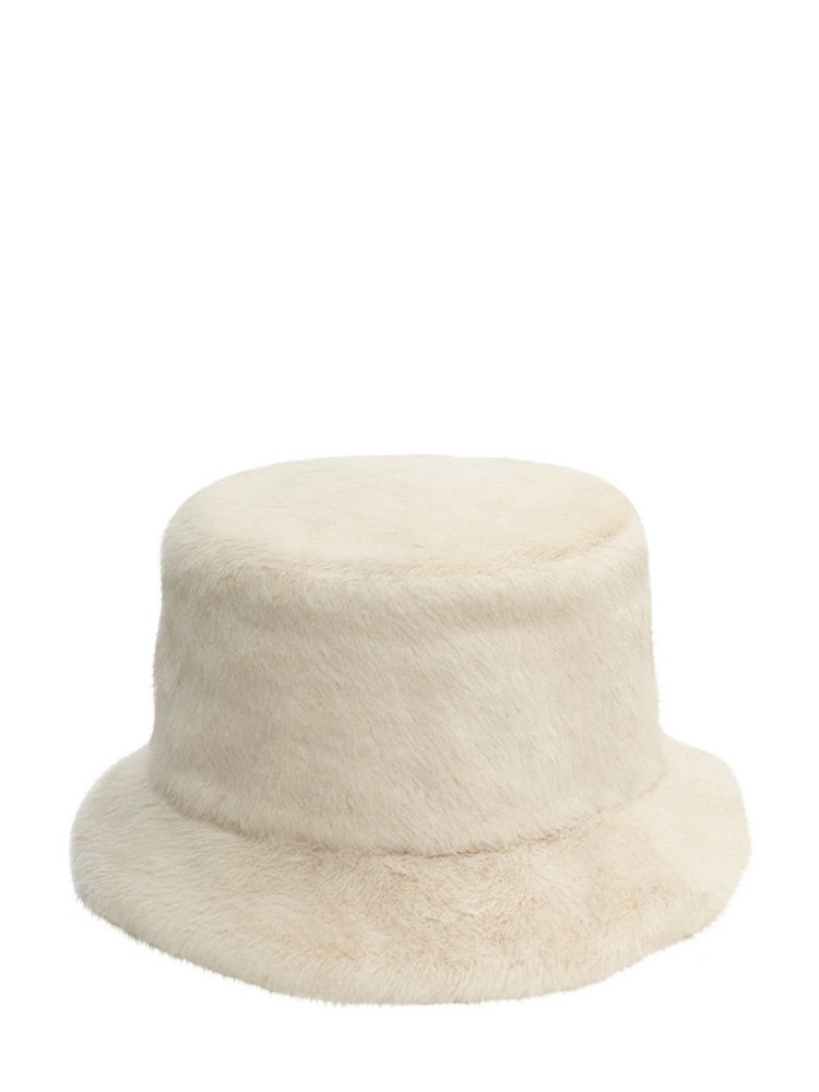 RUSLAN BAGINSKIY Faux Fur Bucket Hat in white