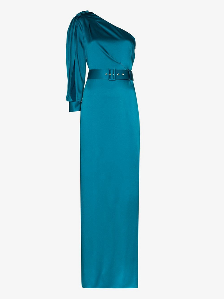 Peter Pilotto Asymmetric bow detail silk gown in blue