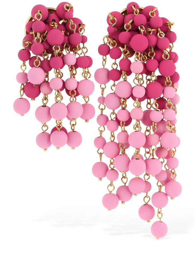 JACQUEMUS Les Mimosas Asymmetrical Earrings in pink