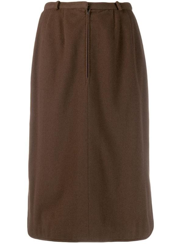 Jean Louis Scherrer Pre-Owned front zip skirt in brown