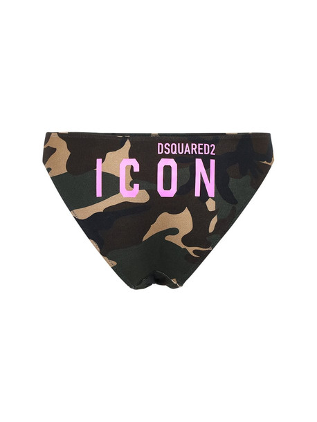 DSQUARED2 Camo & Logo Print Jersey Briefs in pink