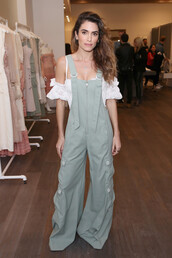 jumpsuit,top,off the shoulder,off the shoulder top,nikki reed,celebrity,overalls,pants