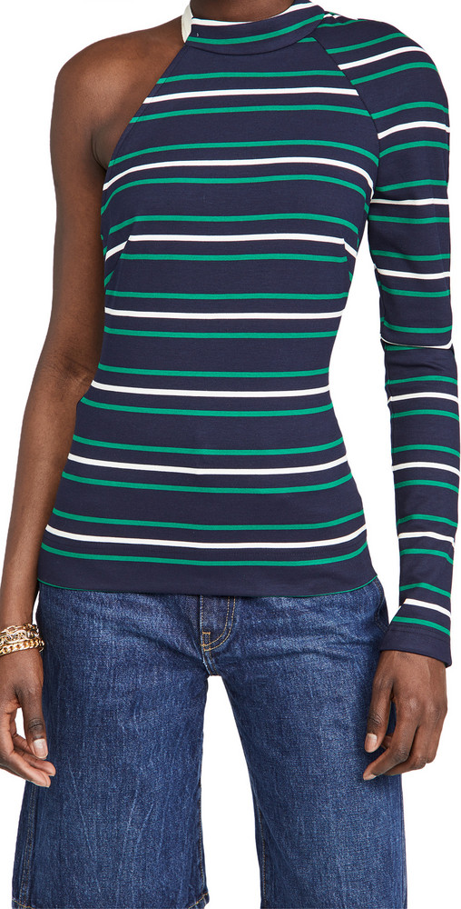 Monse Stripe Jersey Scoop Back Tee in midnight / multi