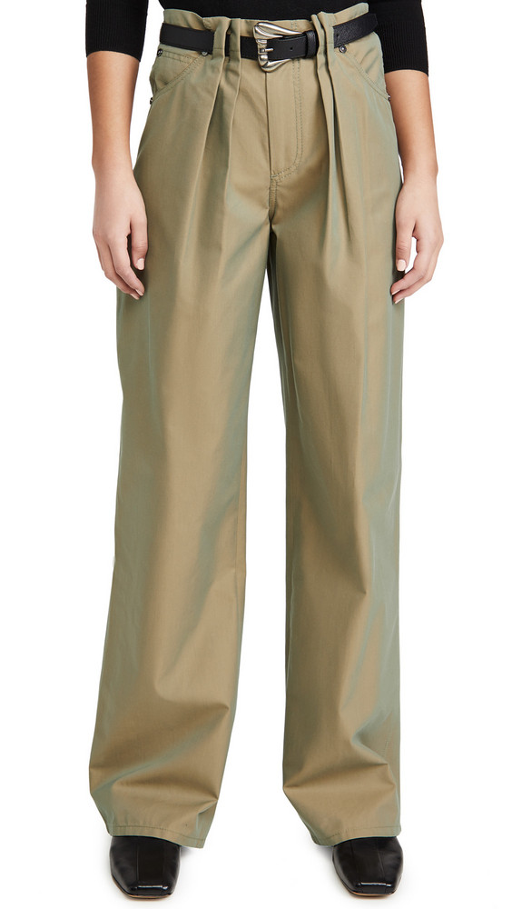 By any Other Name Pleated Utility Pants with Faux Leather Belt in khaki