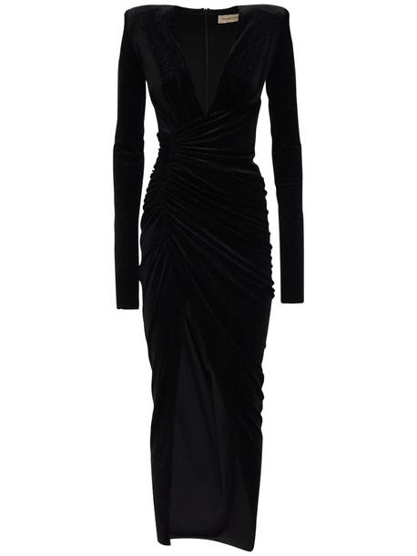 ALEXANDRE VAUTHIER Draped Stretch Velvet Dress in black