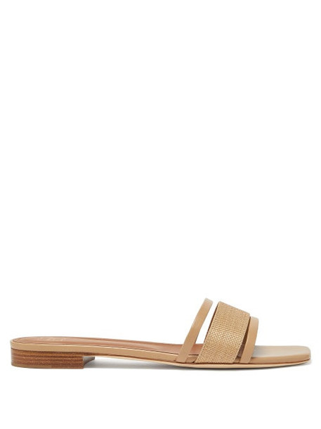 Malone Souliers - Demi Square-toe Leather Mules - Womens - Beige