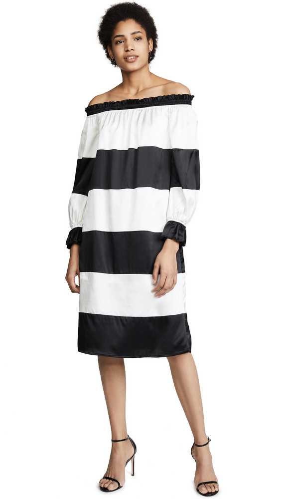Cynthia Rowley Shanley Striped Off Shoulder Dress in black / cream