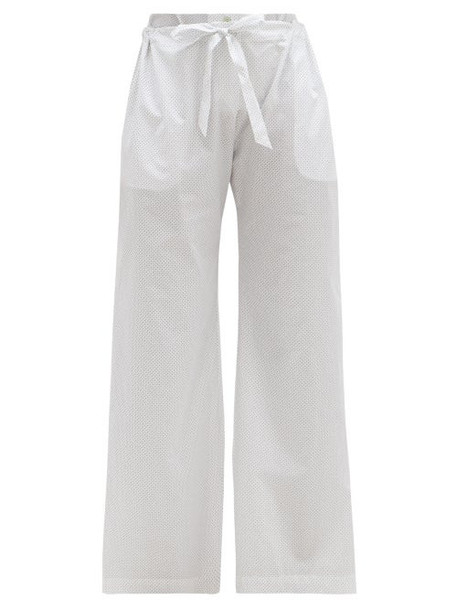Rossell England - Bird-print Cotton-poplin Pyjama Trousers - Womens - White Print