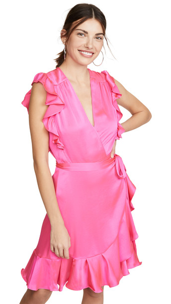 7 For All Mankind Sleeveless Ruffle Wrap Dress in pink