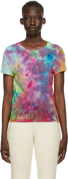 The Elder Statesman Multicolor Paper Rainbow T-Shirt