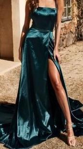 dress,satin,teal,formal,slit dress
