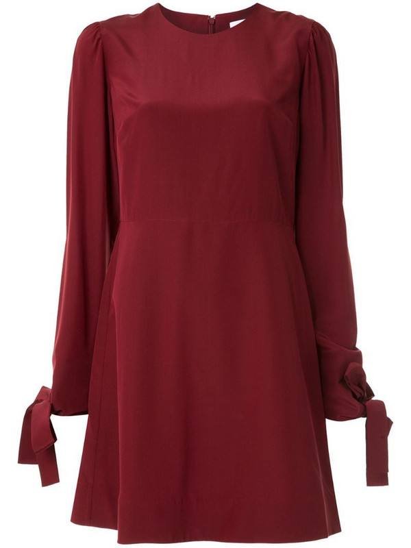 CK Calvin Klein silk long sleeve shift dress in red