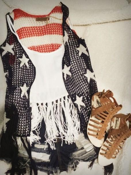 cardigan america american flag fashion shoes