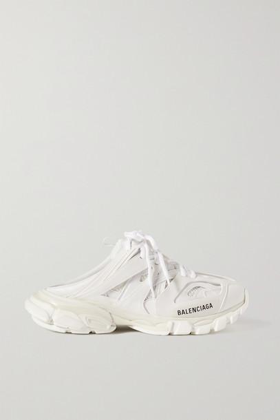 BALENCIAGA - Track Mule Logo-print Mesh And Rubber Sneakers - White