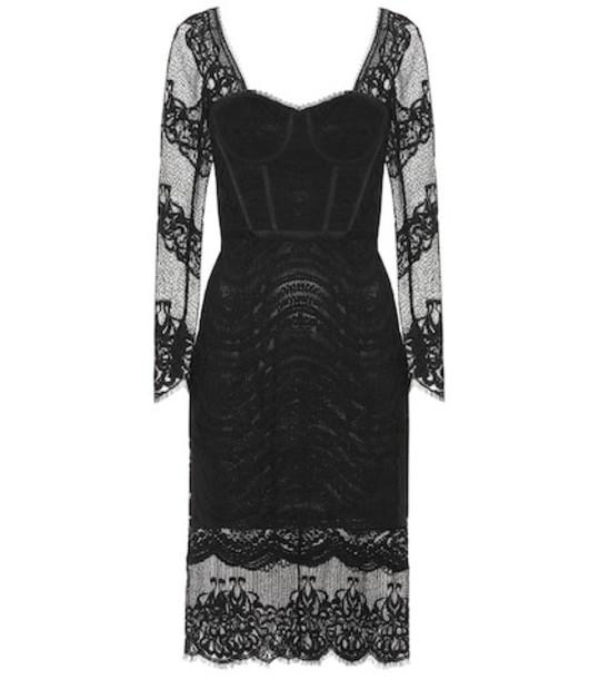 Jonathan Simkhai Mixed lace bustier midi dress in black