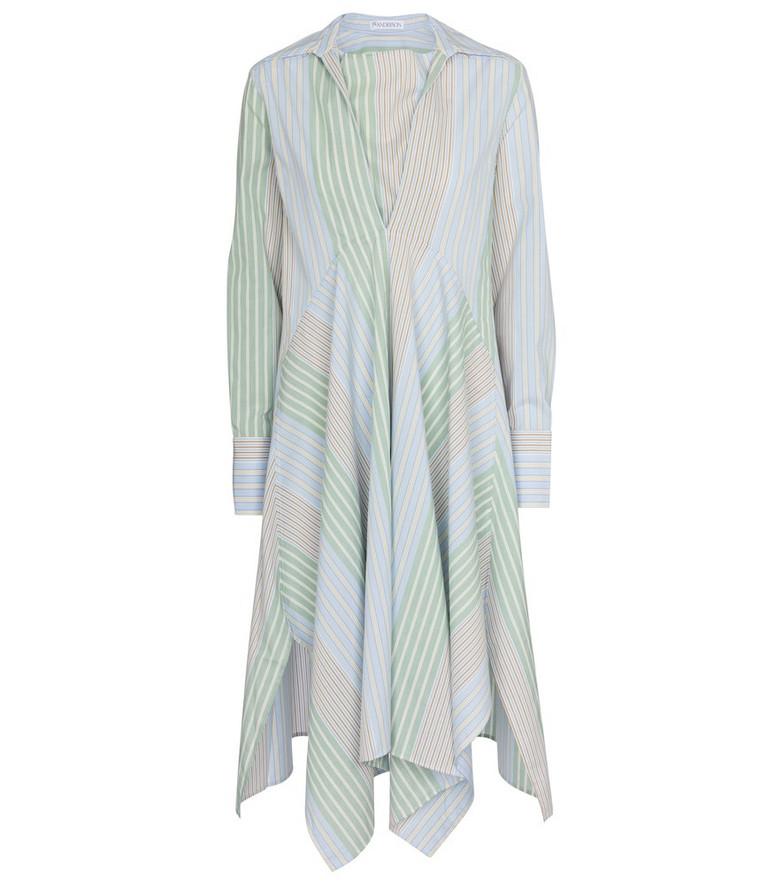 JW Anderson Striped cotton poplin midi dress in blue