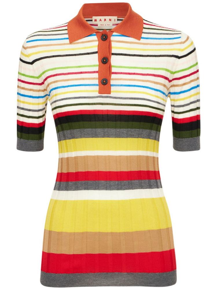MARNI Stripped Wool Knit Polo Shirt