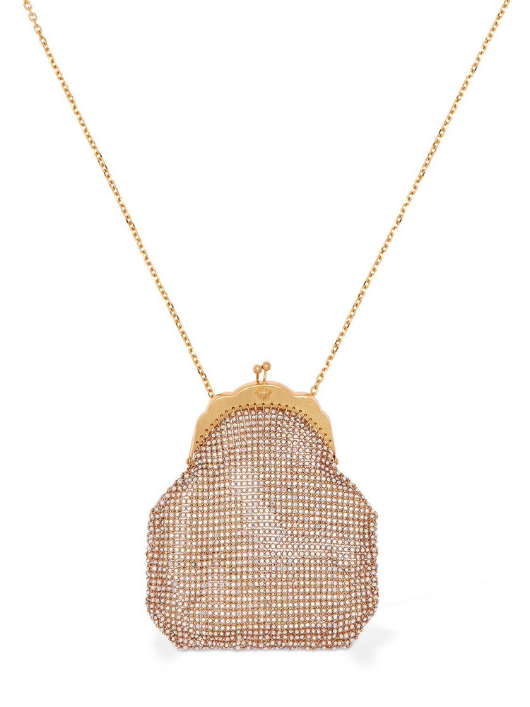 VERSACE Small Embellished Pouch Long Necklace in gold