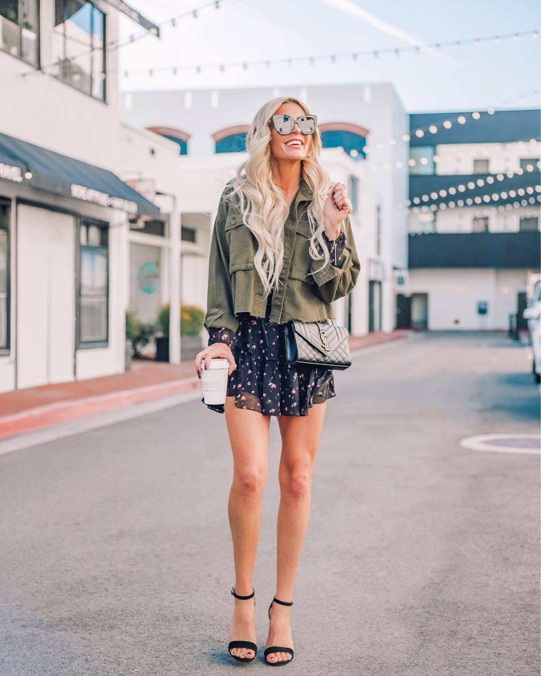 dress mini dress long sleeve dress floral dress black sandals army green jacket ysl bag