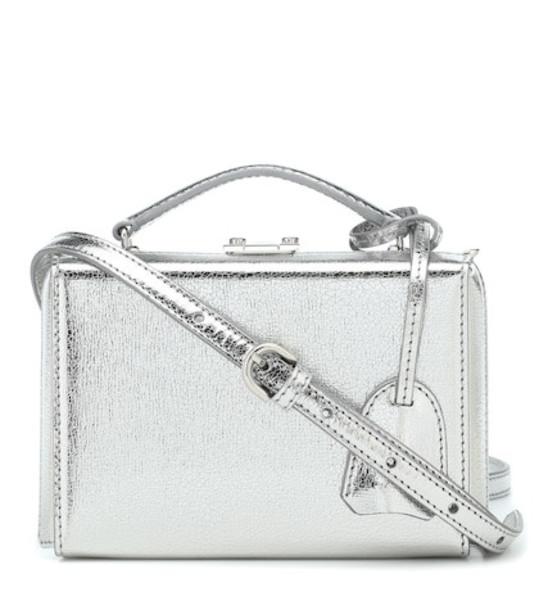 Mark Cross Grace Mini Box leather shoulder bag in silver