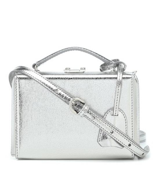 Mark Cross Grace Mini Box leather shoulder bag in silver