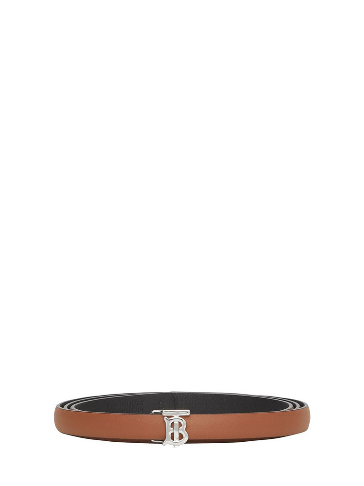 BURBERRY 12mm Reversible Leather Belt in black