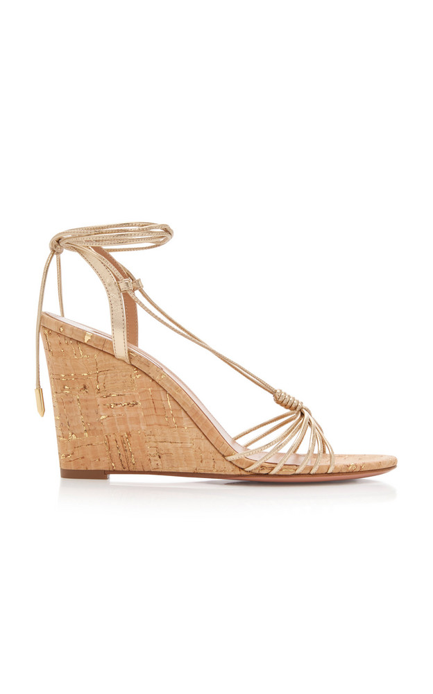 Aquazzura Whisper Strappy Leather Wedges in gold