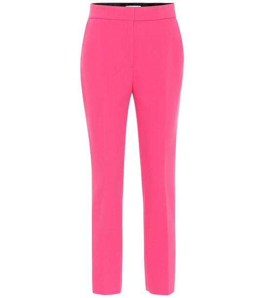 MSGM Crêpe high-rise slim pants in pink