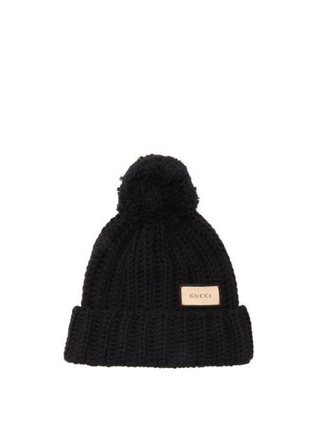 Gucci - Logo-tag Wool Bobble Hat - Womens - Black