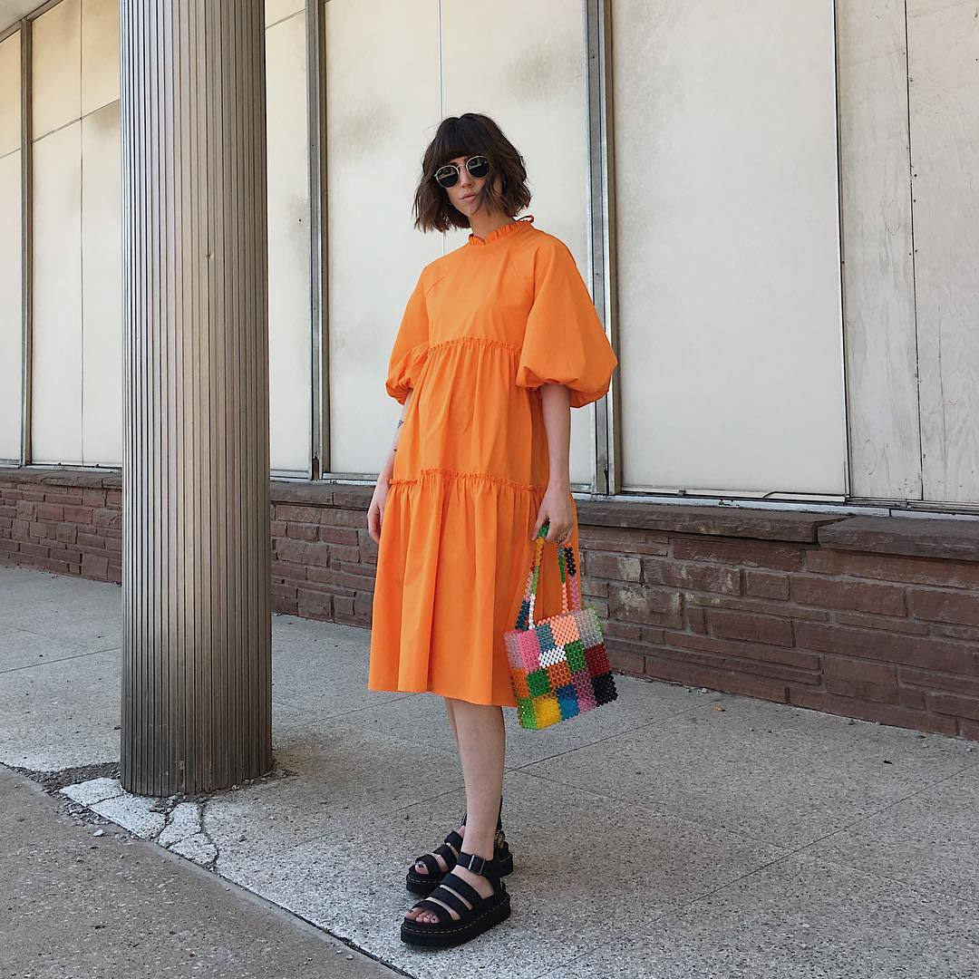 dress midi dress orange dress short sleeve dress flatform sandals handbag