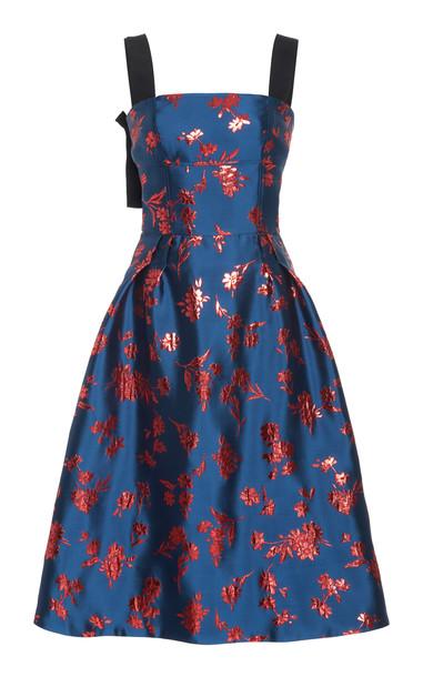 Carolina Herrera Grosgrain-Trimmed Satin-Jacquard Midi Dress in blue