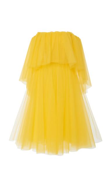 Carolina Herrera Off-the-Shoulder Tulle Midi Dress in yellow