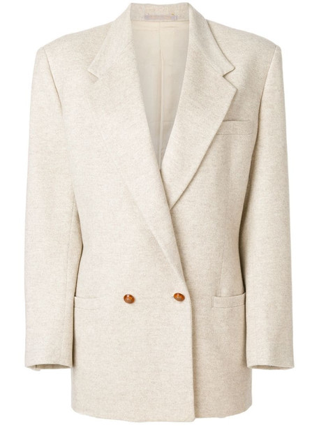 Versace Pre-Owned long-line double breasted blazer in neutrals