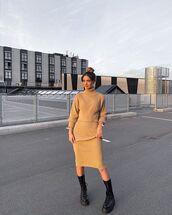 skirt,knitted skirt,turtleneck sweater,pretty little thing,black boots