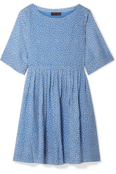 HATCH - The Lucia Pleated Floral-print Chiffon Dress - Light blue
