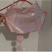 shirt,glitter,pink,halter top,cute,girly,rave